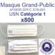 Carton de 800 unités de Masques barrières Grand-Public AFNOR USN Catégorie 1 - Lavables 10 fois